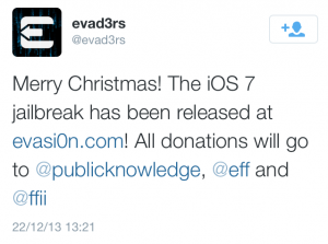 Tweet iOS 7 JailBreak